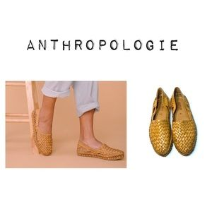 Anthropologie Mohinders Leather Woven Flats